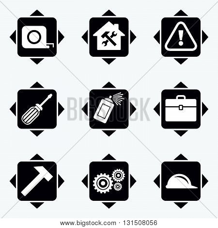 Icons with direction arrows. Repair, construction icons. Helmet, screwdriver and hammer signs. Gears, painting spray and attention symbols. Square buttons.