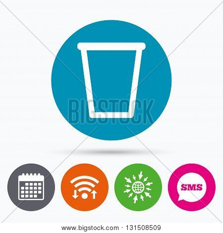 Wifi, Sms and calendar icons. Recycle bin sign icon. Bin symbol. Go to web globe.
