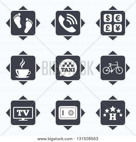 Icons with direction arrows. Hotel, apartment services icons. Coffee sign. Phone call, kid-friendly and safe strongbox symbols. Square buttons.