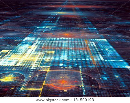 Abstract technology background - computer-generated image. Trendy fractal - glass or metallic surface with grid, stripes and circles. Fractal background for web design, banners, covers.