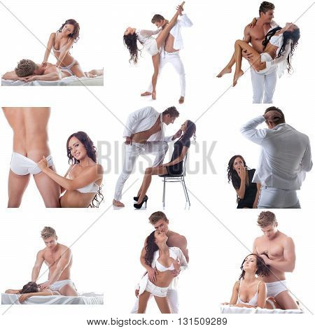 Adult. Set of couple posing during dance and in bed