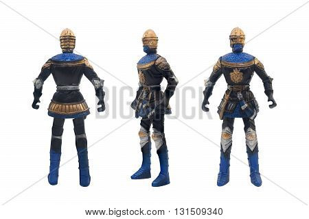 Isolated knight toy in golden helmet & armor with weapons  standing on white background angle front & rear view.