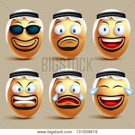Vector saudi arab man egg faces set wearing agal and ghutrah or head dress with facial expressions and emotions as an emoticons isolated in white background. Vector illustration