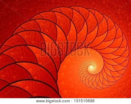 Abstract fractal background - computer-generated red image. Fractal artwork - spiral or shell with beautiful texture of repeating images. For banners, posters, prints, web design