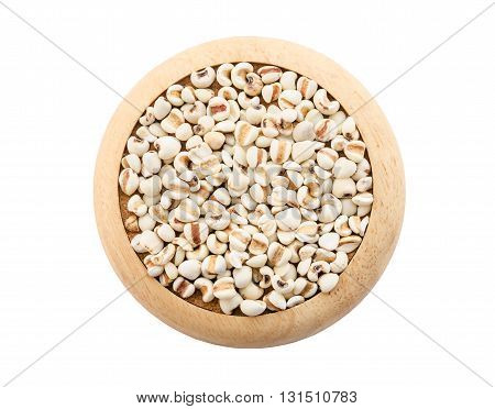 Raw millet rice in wooden dish on white background. Save clipping path.