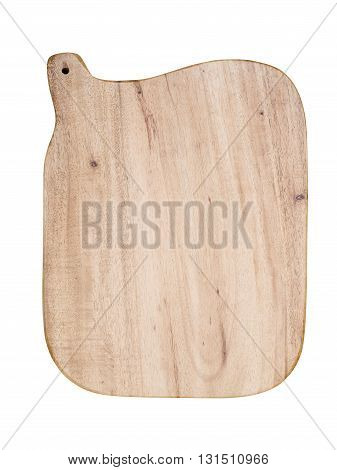 Wooden trencher chopping block on white background.