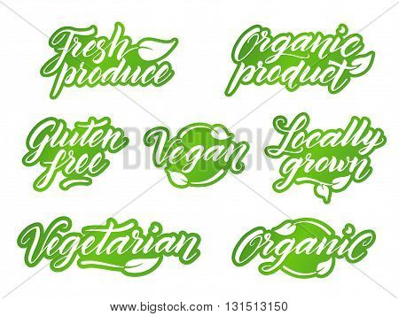 Hand drawn healthy food letterings. Retro styled label, logo, badge template isolated on white background.