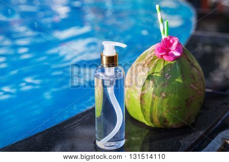 Coconut Oil Fresh And Juice Smoothie Drink Cocktail Near Swimming Pool - Summer Exotic Health Holida
