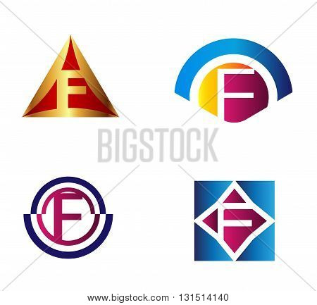 Set of alphabet symbols and elements of letter F, such f logo