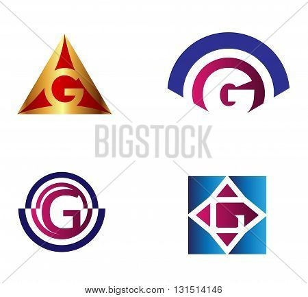 Set of alphabet symbols and elements of letter G, such g logo