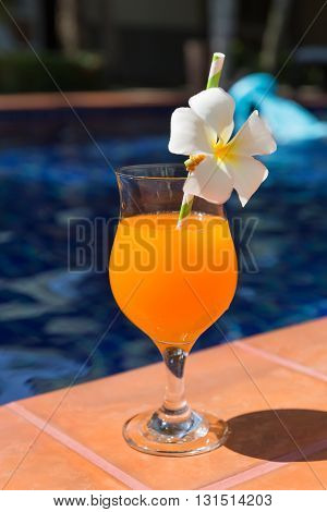 Orange Mango Fresh Juice Smoothie Drink Cocktail Slippers Near Swimming Pool - Summer Holiday Concep