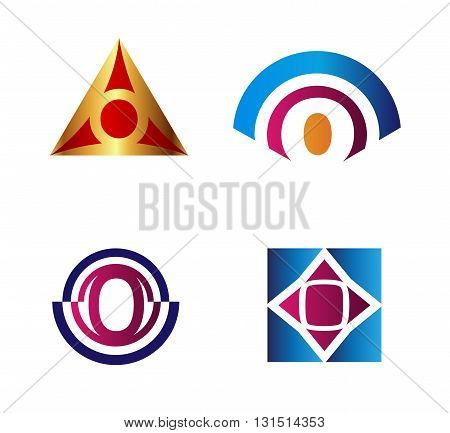 Set of Letter O icon. Vector illustration of abstract icons based on the letter Q