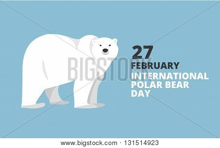 International Polar Bear Day poster. Walking or standing polar bear, side view. Flat style illustration