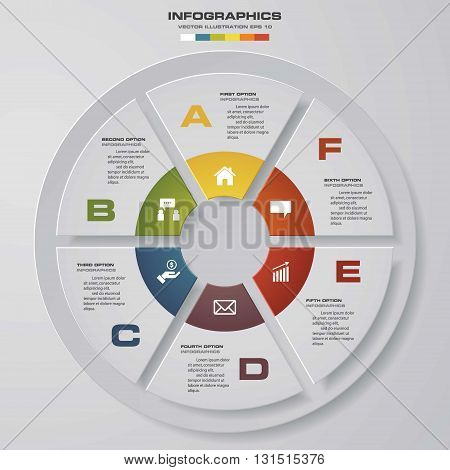 6 steps vector circle for infographic. Template for diagram. EPS10