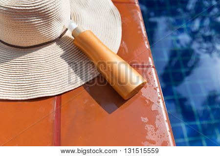 Sunscreen Cream And Straw Hat Swimming Po