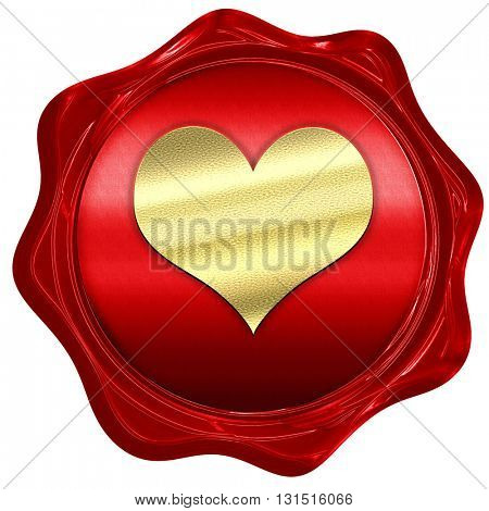 Hearts card background, 3D rendering, a red wax seal