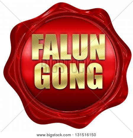 Falun gong, 3D rendering, a red wax seal