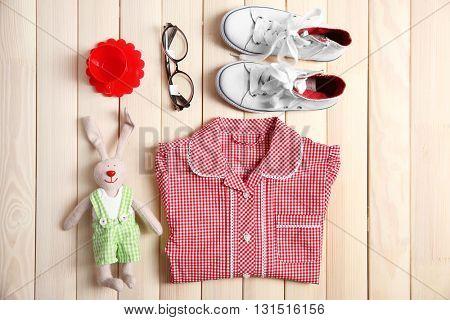 Kid's set on wooden background