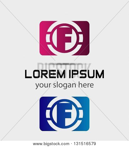 Vector graphic elegant font symbol alphabet Letter f icon