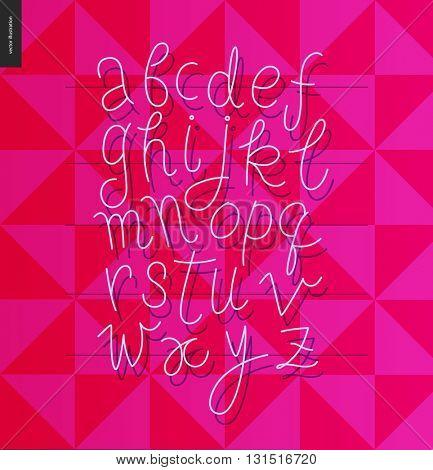Script alphabet - vector illustrated script font on purple magenta background