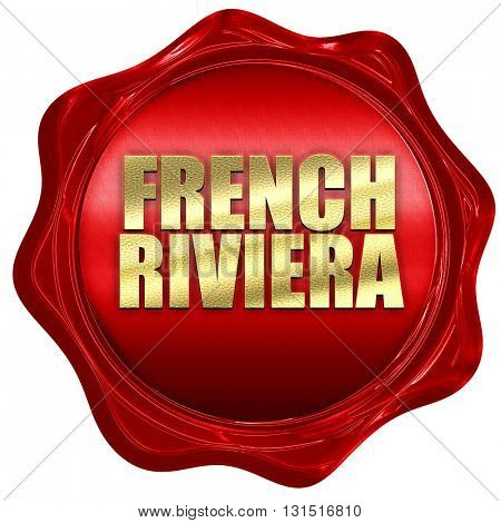 french riviera, 3D rendering, a red wax seal