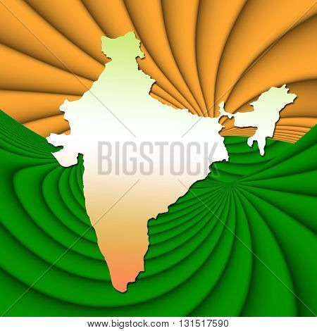 India map with the flag colors background.