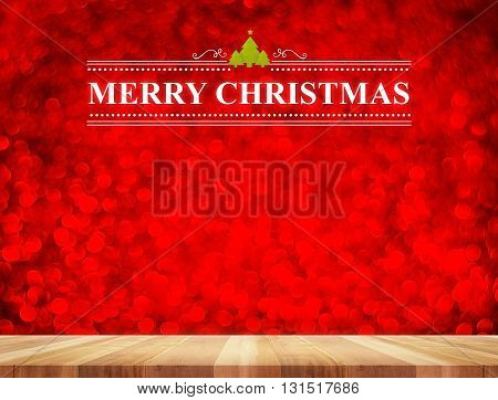 Merry Christmas Word In Perspective Room With Red Sparkling Bokeh Lights And Wooden Plank Floor,leav