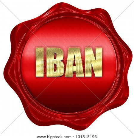 IBAN, 3D rendering, a red wax seal