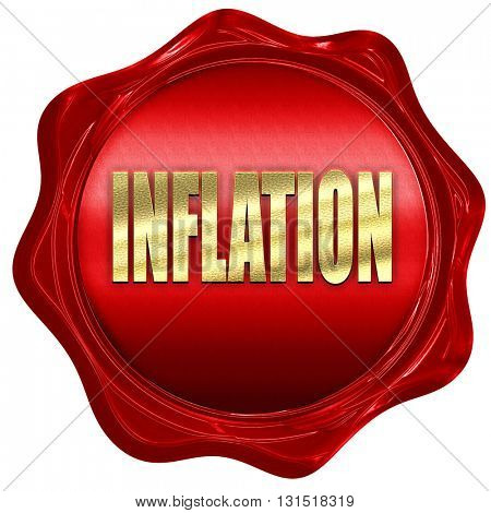 Inflation sign background, 3D rendering, a red wax seal