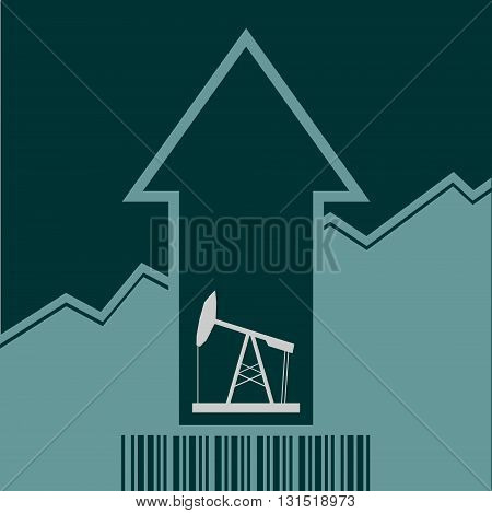 Oil pump icon and rise up arrow. Growth diagram and bar code. Vector illustration