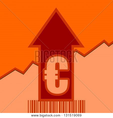 Euro sign and rise up arrow. Growth diagram and bar code. Relative for retail business. Vector illustration