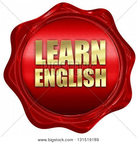 learn english, 3D rendering, a red wax seal