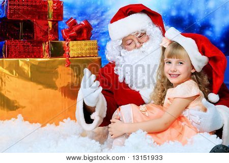 Christmas theme: Santa  gifts, snowy design, child.