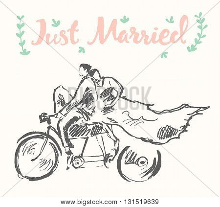 Hand drawn happy bride and groom riding bicycle, vector illustration, sketch