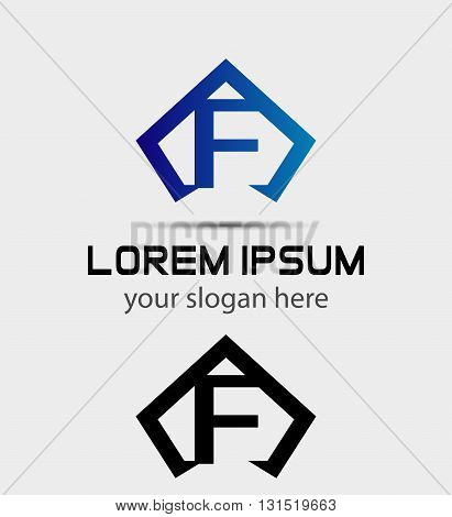 Letter F logo icon design template abstract