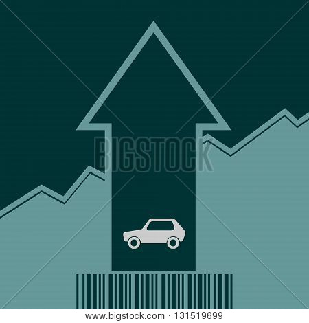 Car i icon and rise up arrow. Growth diagram and bar code. Vector illustration