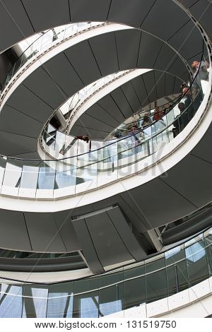 LONDON, UK - SEPTEMBER 19, 2015: Spiral stairs of London Hall, Mayor of London