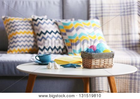Design interior with sofa and table, indoors