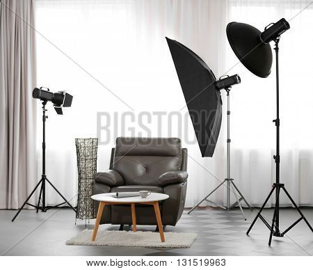 Photo studio with design interior of living room
