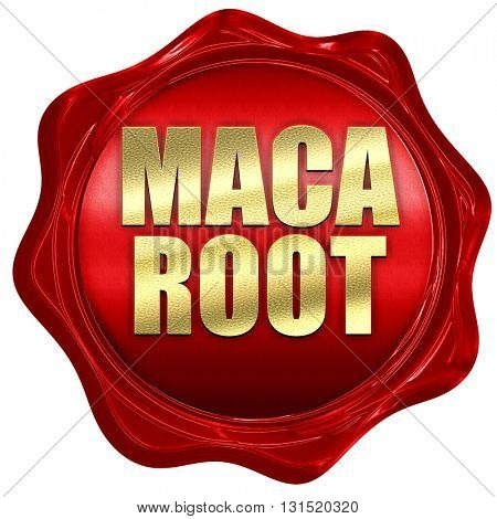 maca root, 3D rendering, a red wax seal