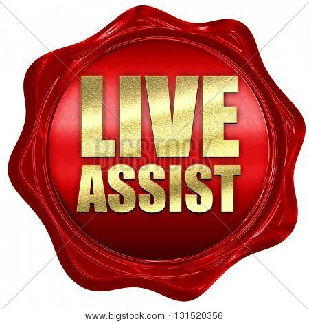 live assist, 3D rendering, a red wax seal