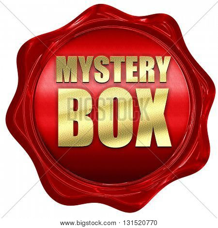 mystery box, 3D rendering, a red wax seal