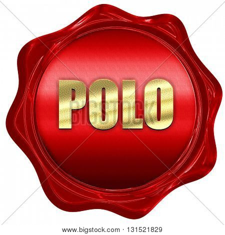 Polo, 3D rendering, a red wax seal