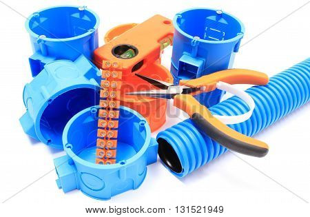 Electrical boxes and components for use in electrical installations accessories for engineering jobs. White background