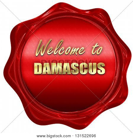 Welcome to damascus, 3D rendering, a red wax seal