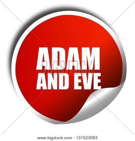 adam and eve, 3D rendering, a red shiny sticker
