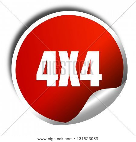 4x4, 3D rendering, a red shiny sticker