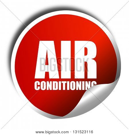 air conditioning, 3D rendering, a red shiny sticker