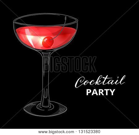 Cocktail party design template. Hand drawn cocktail with cherry on dark background. Eps 10 vector illustration.