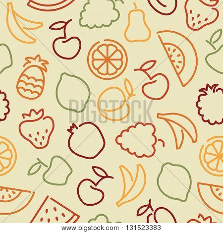 Seamless background with stylized outlines of the vegetables and avocado